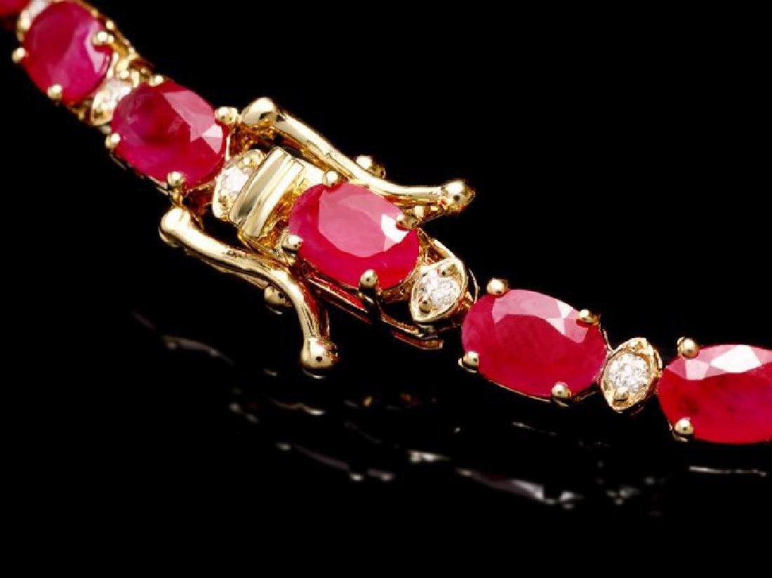 14k Gold 11.50ct Ruby 0.40ct Diamond Bracelet - 2