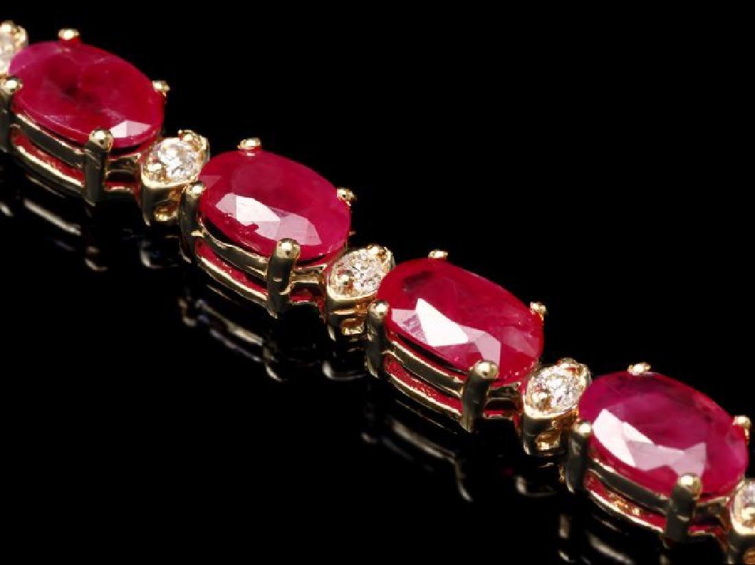 14k Gold 11.50ct Ruby 0.40ct Diamond Bracelet - 3