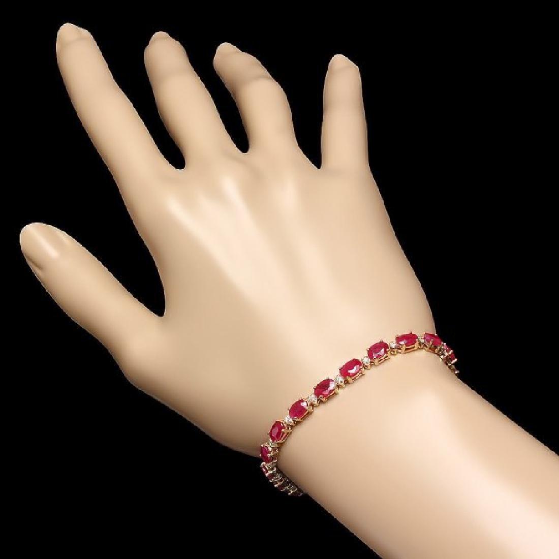 14k Gold 11.50ct Ruby 0.40ct Diamond Bracelet - 4