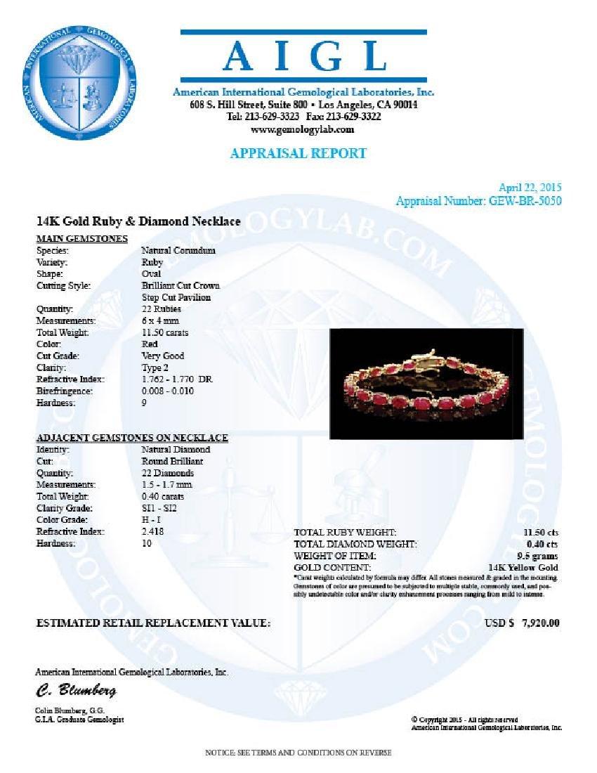 14k Gold 11.50ct Ruby 0.40ct Diamond Bracelet - 6