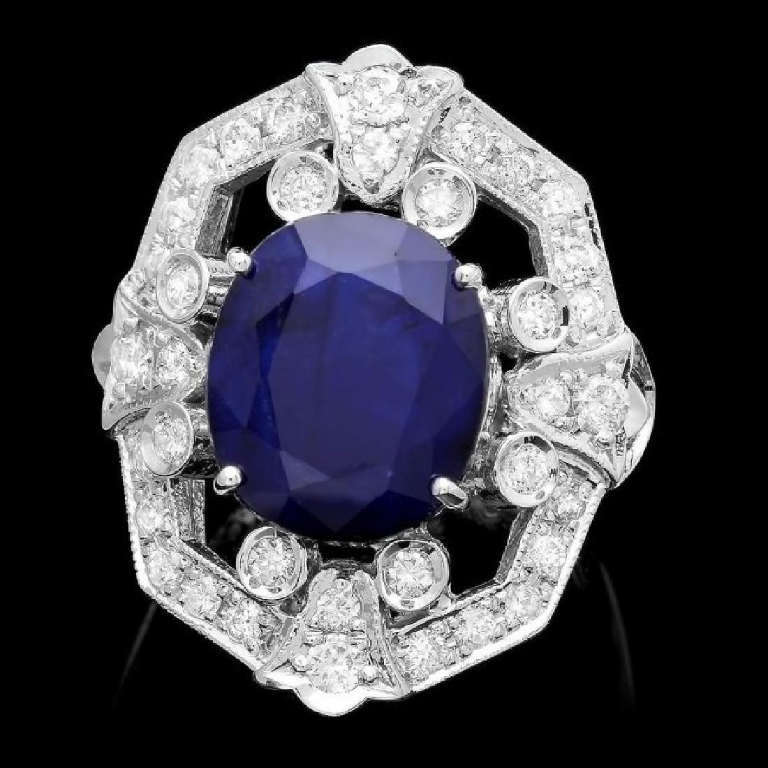 14k Gold 9.00ct Sapphire 1.30ct Diamond Ring