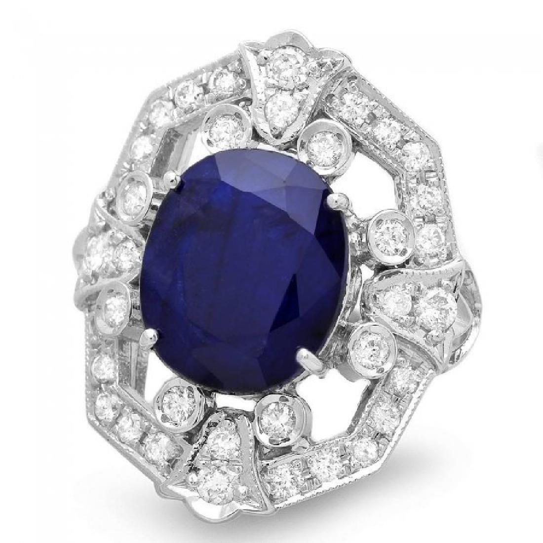 14k Gold 9.00ct Sapphire 1.30ct Diamond Ring - 2
