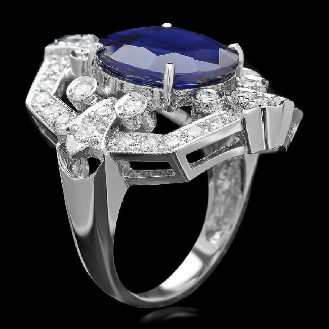 14k Gold 9.00ct Sapphire 1.30ct Diamond Ring - 3