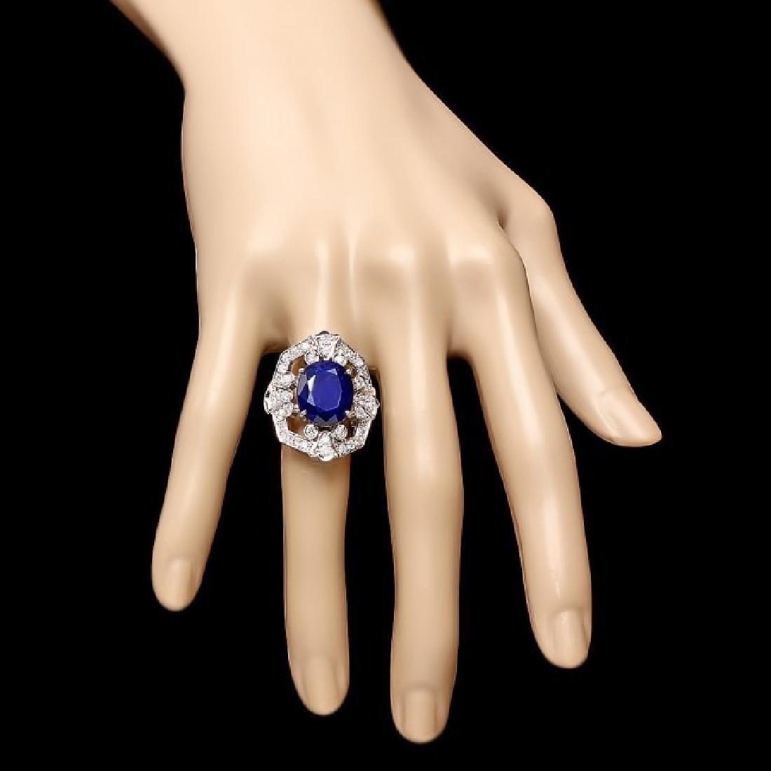 14k Gold 9.00ct Sapphire 1.30ct Diamond Ring - 4