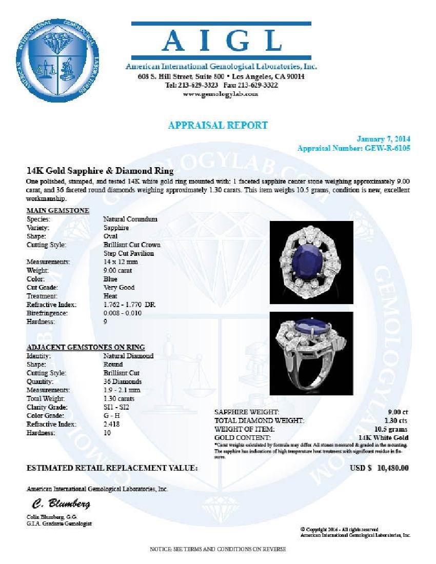 14k Gold 9.00ct Sapphire 1.30ct Diamond Ring - 5