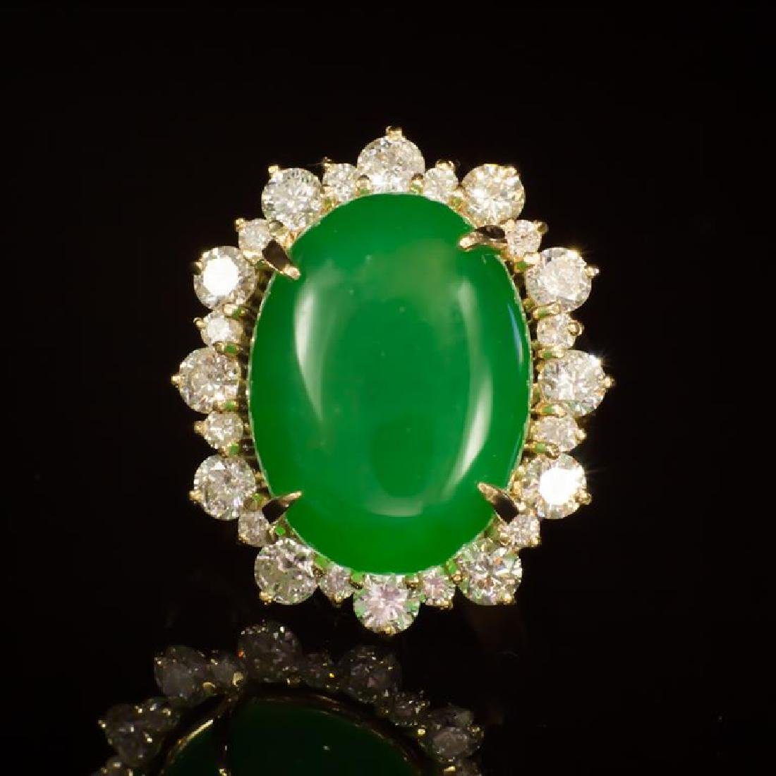 14K Gold 14.26ct Jadeite 2.41ct Diamond Ring