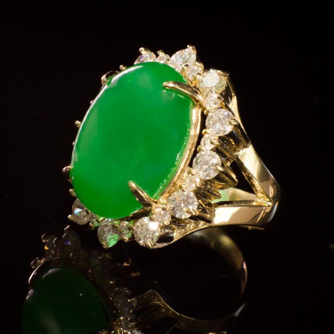 14K Gold 14.26ct Jadeite 2.41ct Diamond Ring - 2