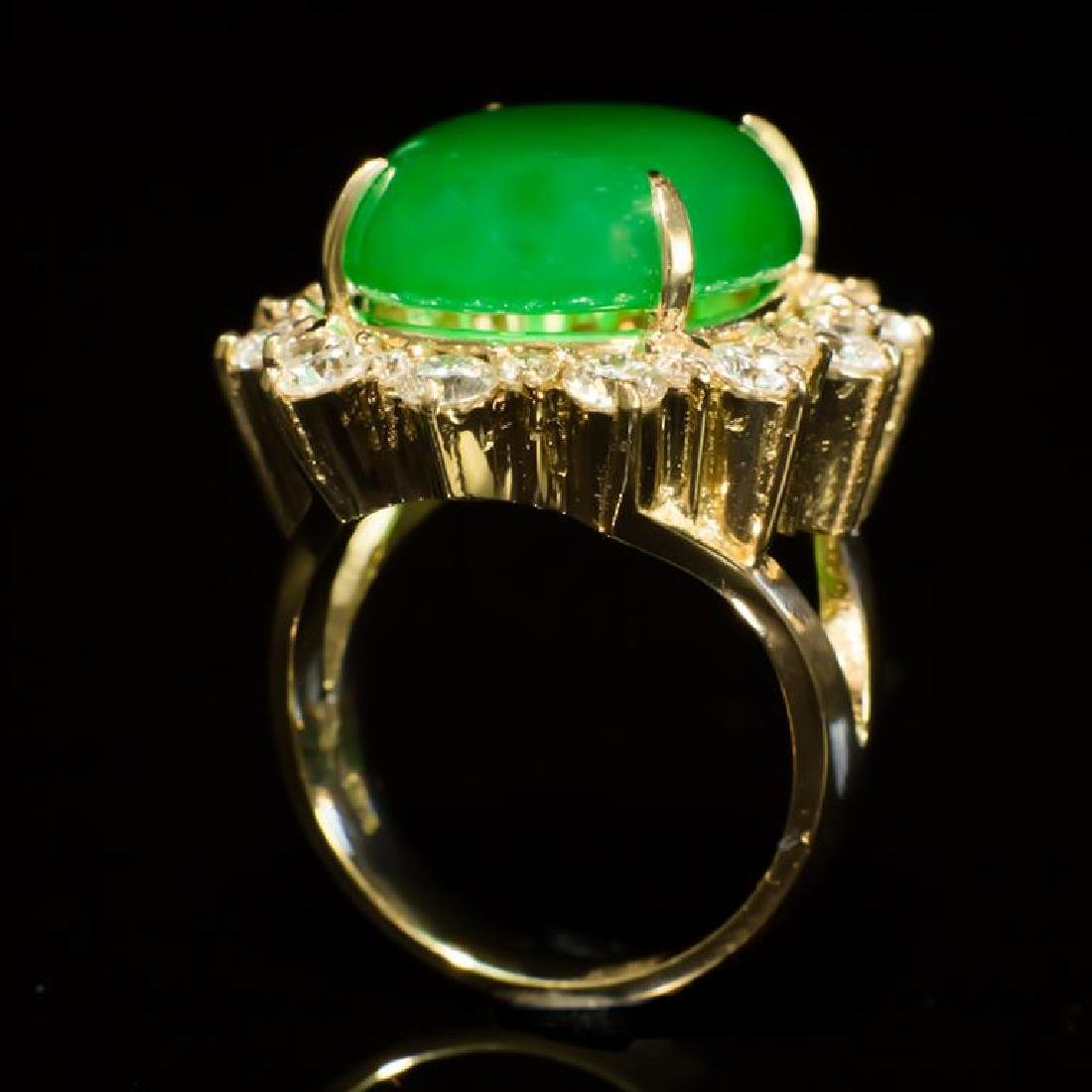 14K Gold 14.26ct Jadeite 2.41ct Diamond Ring - 3