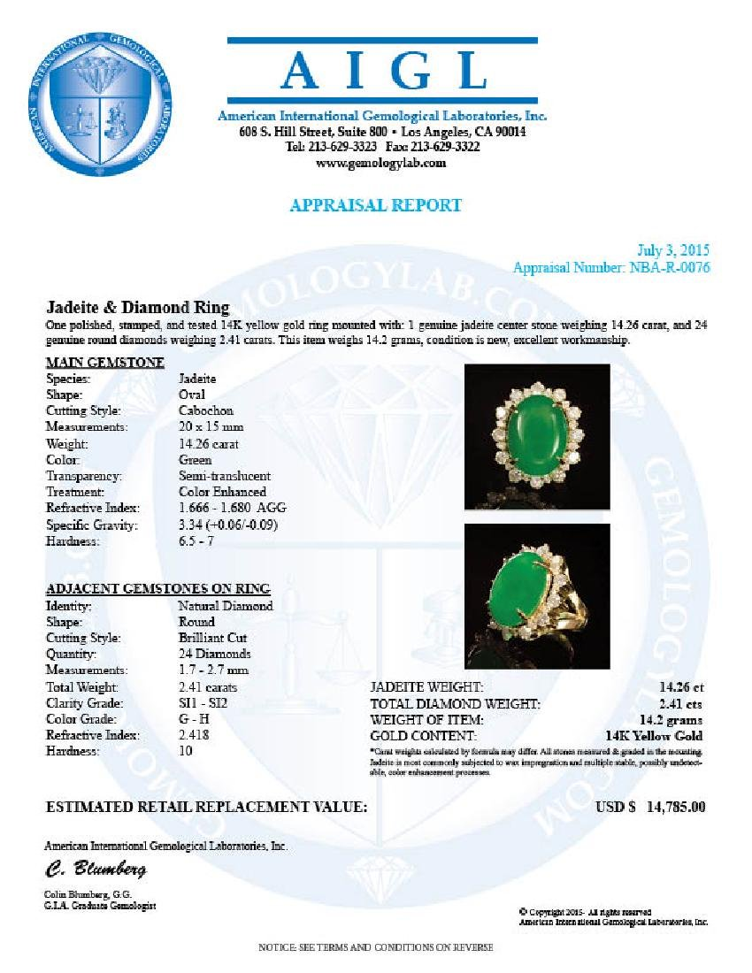 14K Gold 14.26ct Jadeite 2.41ct Diamond Ring - 4
