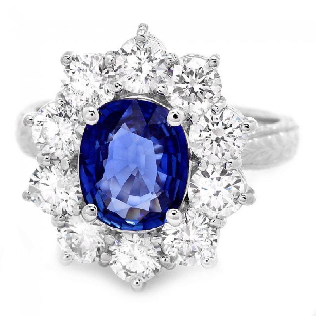 18k Gold 2.00ct Sapphire 2.00ct Diamond Ring - 2