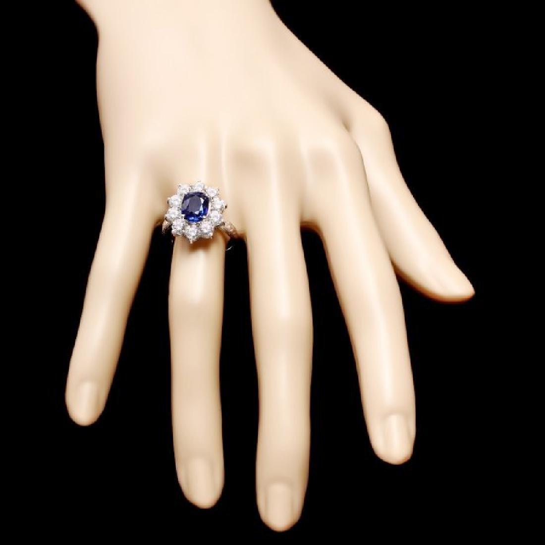 18k Gold 2.00ct Sapphire 2.00ct Diamond Ring - 4