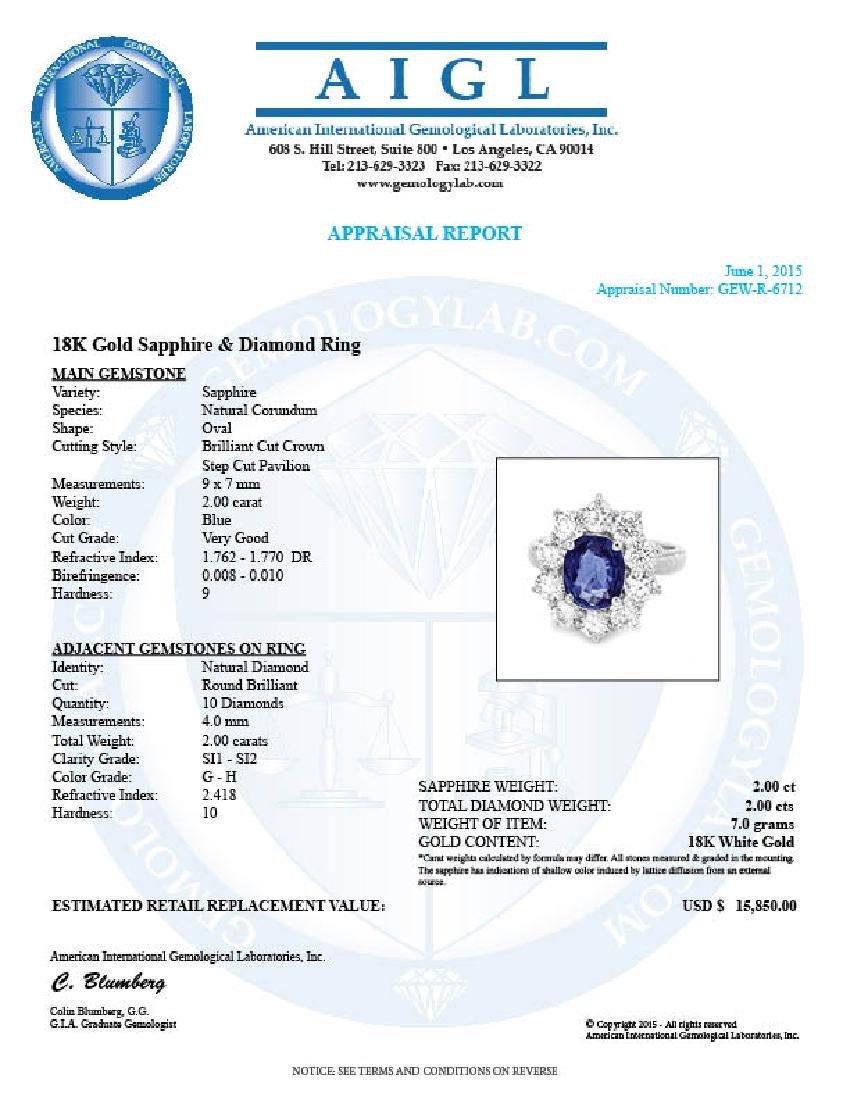 18k Gold 2.00ct Sapphire 2.00ct Diamond Ring - 5