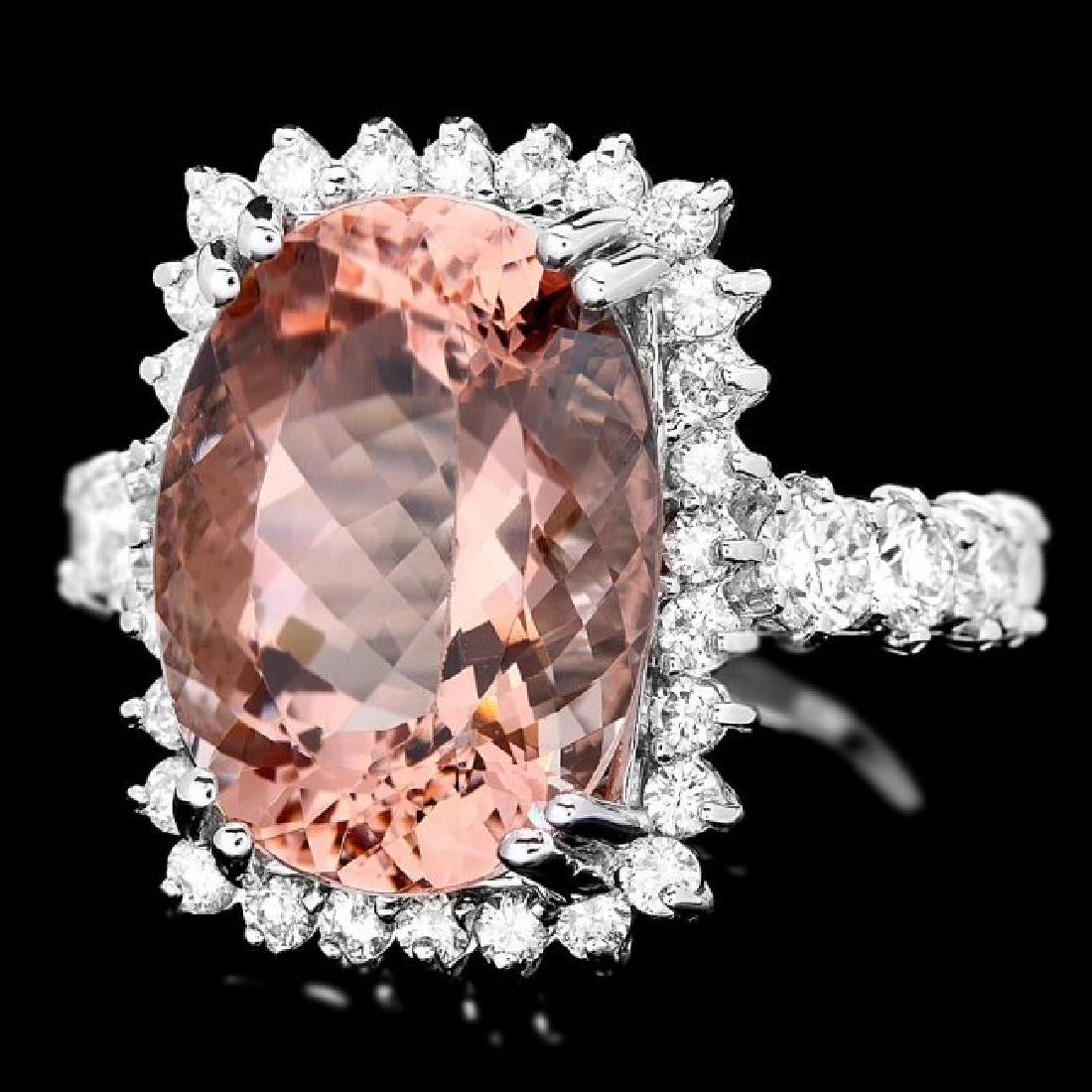 14k Gold 9.00ct Morganite 1.50ct Diamond Ring