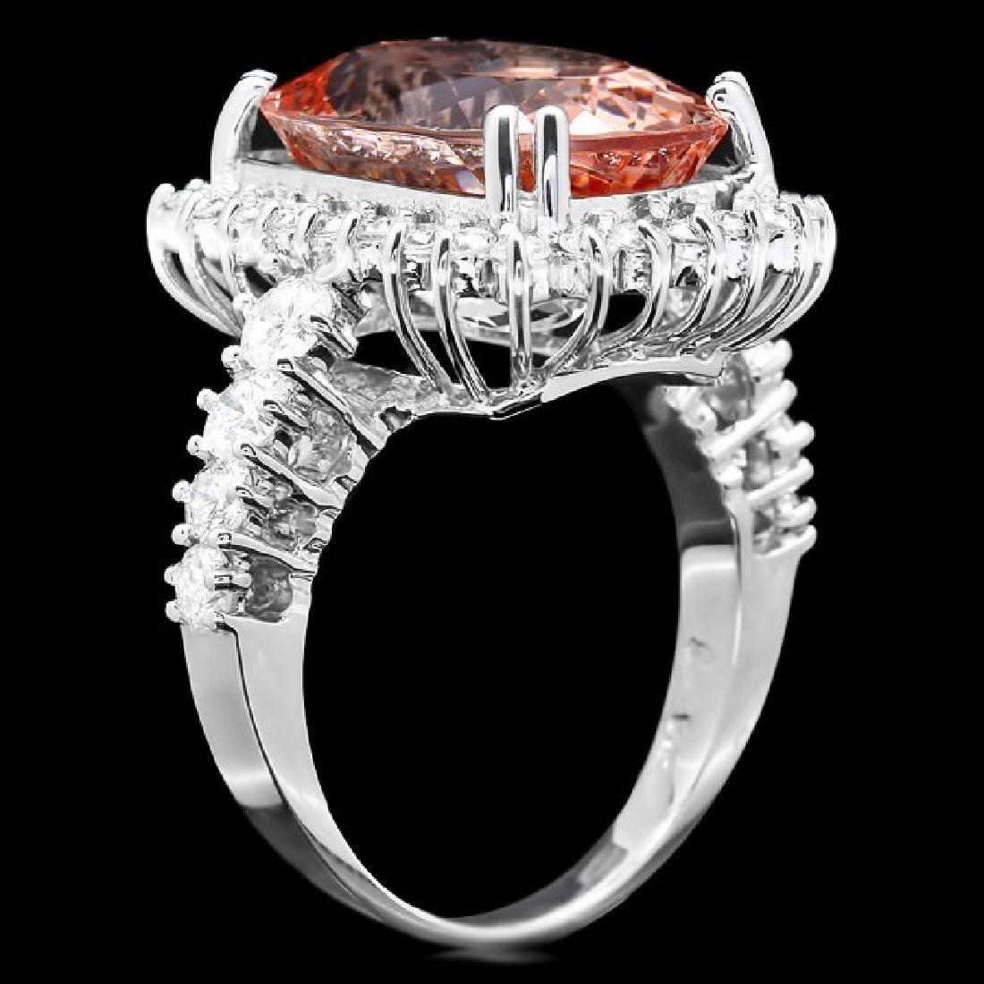14k Gold 9.00ct Morganite 1.50ct Diamond Ring - 2
