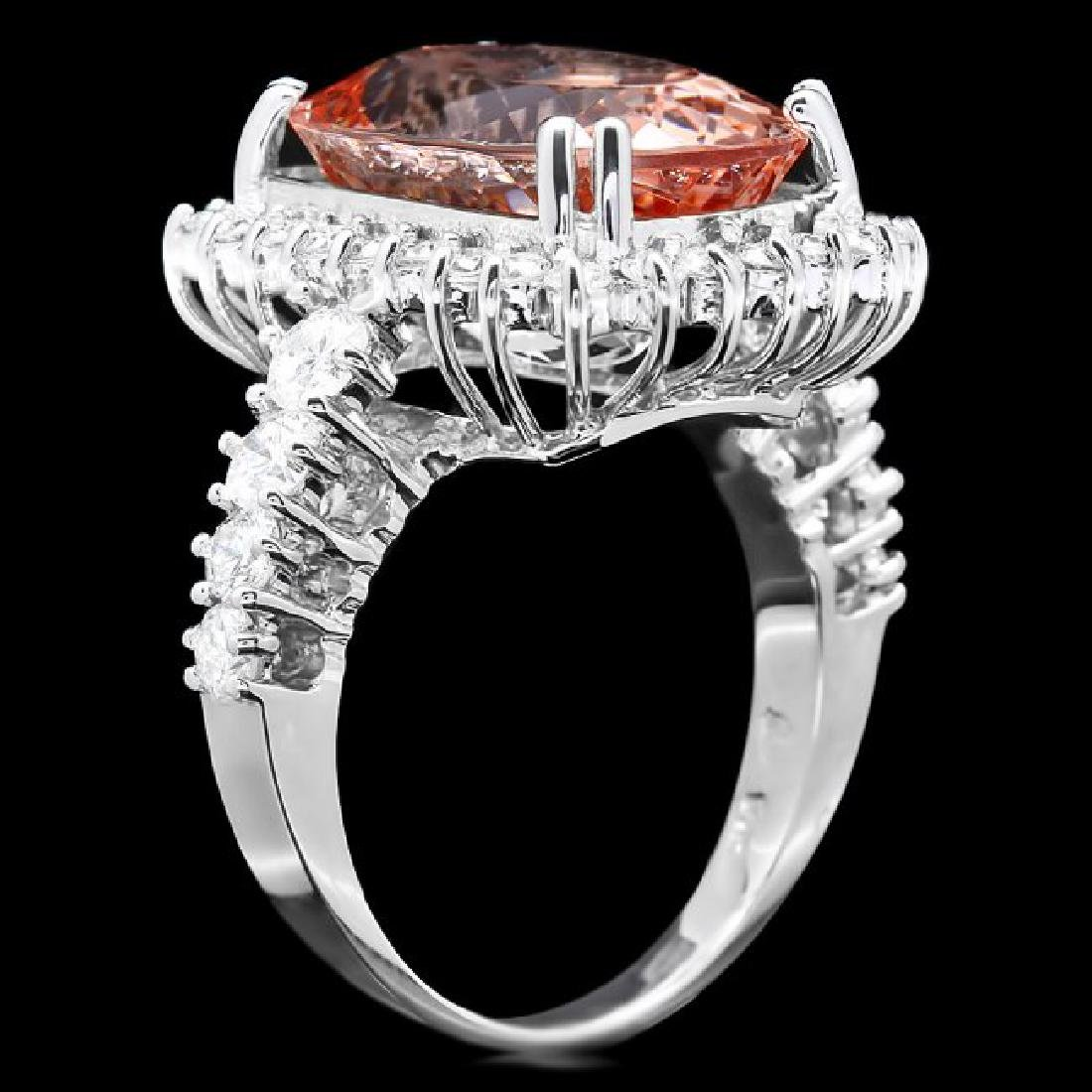 14k Gold 9.00ct Morganite 1.50ct Diamond Ring - 2