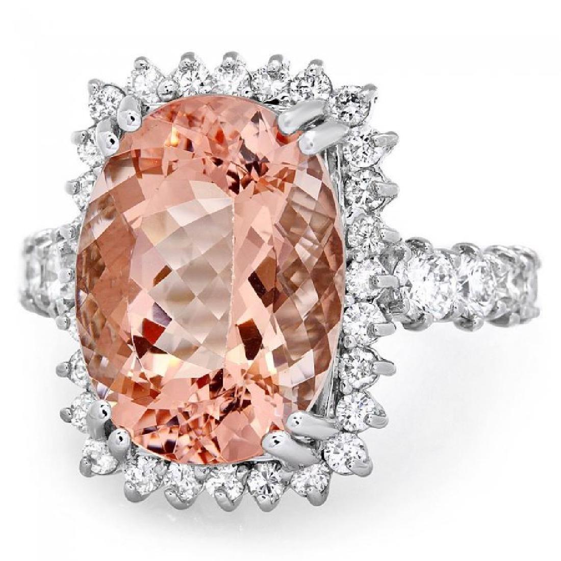 14k Gold 9.00ct Morganite 1.50ct Diamond Ring - 3