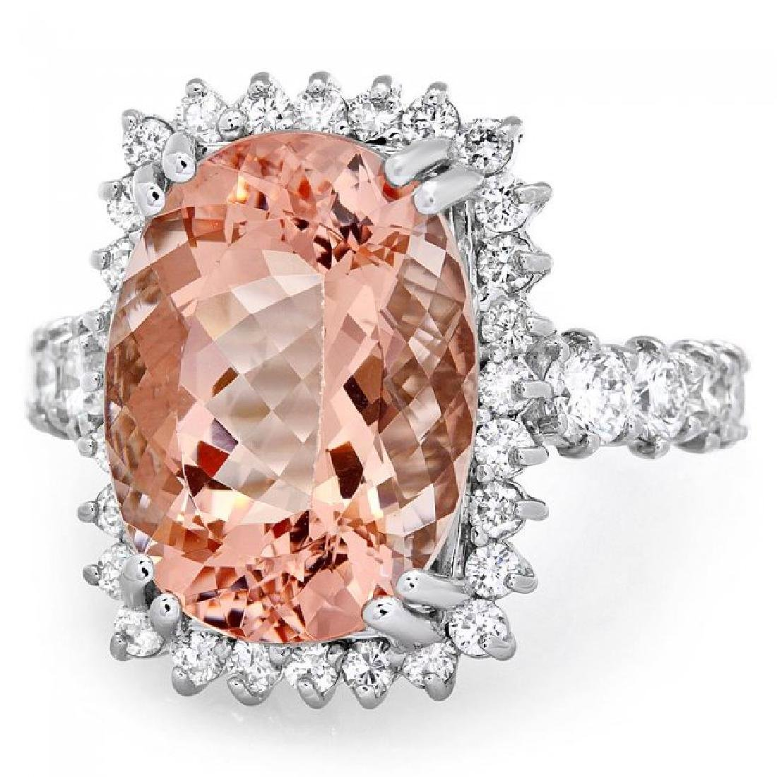 14k Gold 9.00ct Morganite 1.50ct Diamond Ring - 3