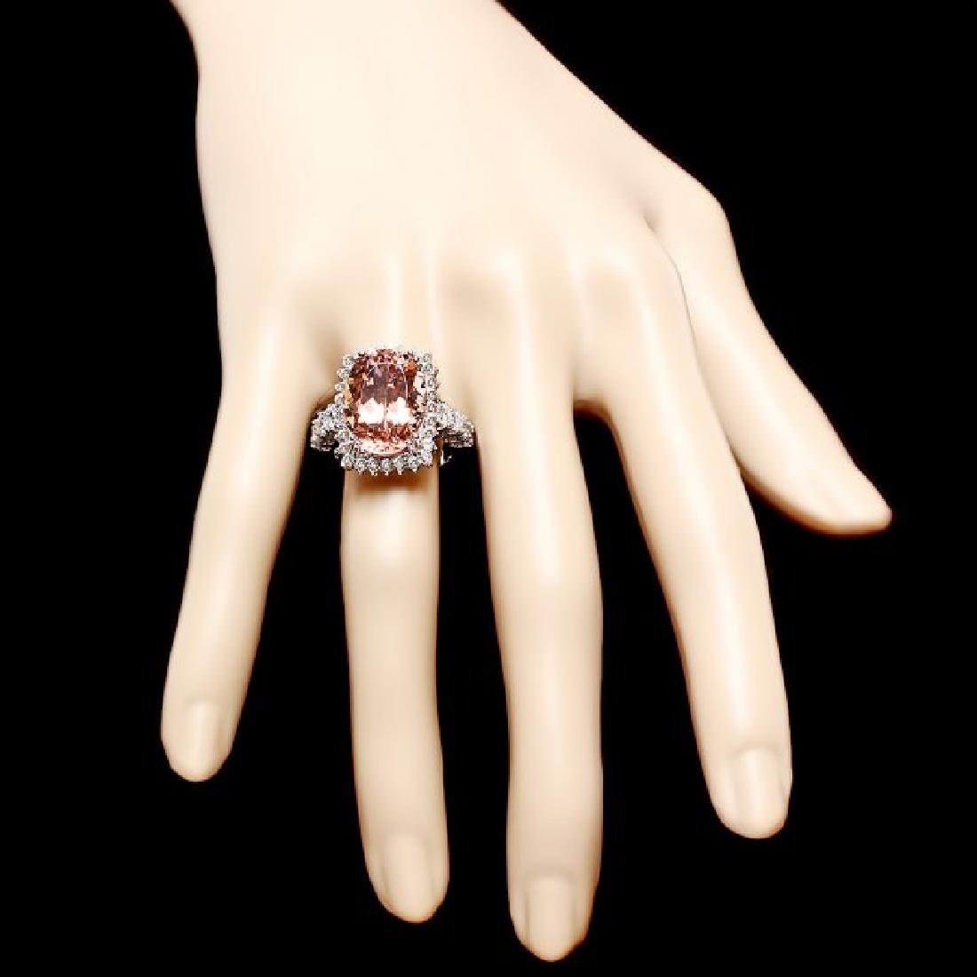 14k Gold 9.00ct Morganite 1.50ct Diamond Ring - 4