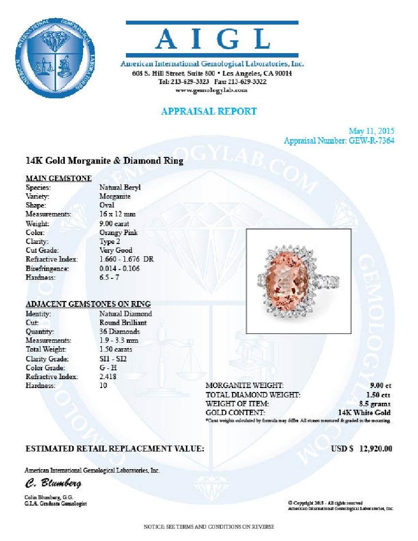 14k Gold 9.00ct Morganite 1.50ct Diamond Ring - 5