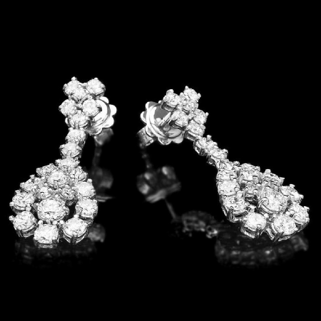 14k White Gold 2.85ct Diamond Earrings - 2