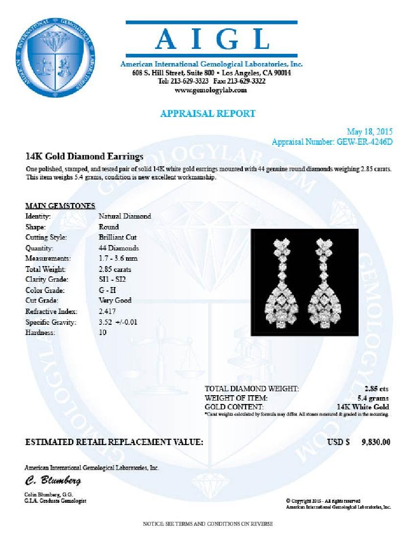14k White Gold 2.85ct Diamond Earrings - 3