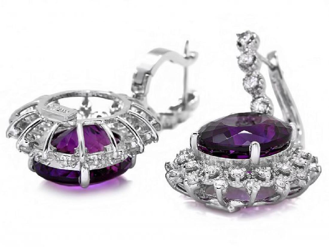 14k Gold 14ct Amethyst 1.55ct Diamond Earrings - 2