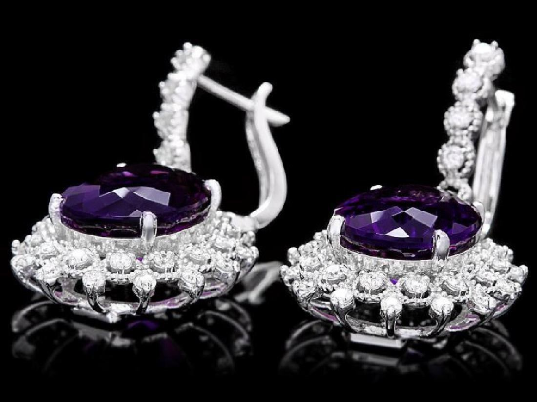 14k Gold 14ct Amethyst 1.55ct Diamond Earrings - 3