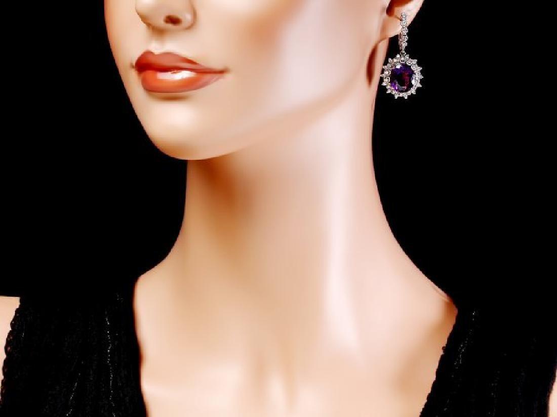 14k Gold 14ct Amethyst 1.55ct Diamond Earrings - 4