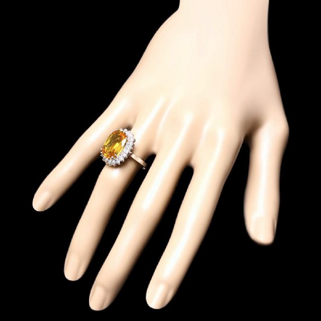 14k Gold 7.50ct Sapphire 0.80ct Diamond Ring - 3