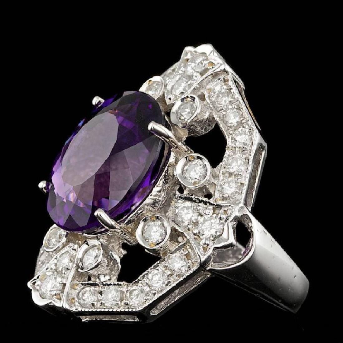 14k Gold 7.50ct Amethyst 2.60ct Diamond Ring