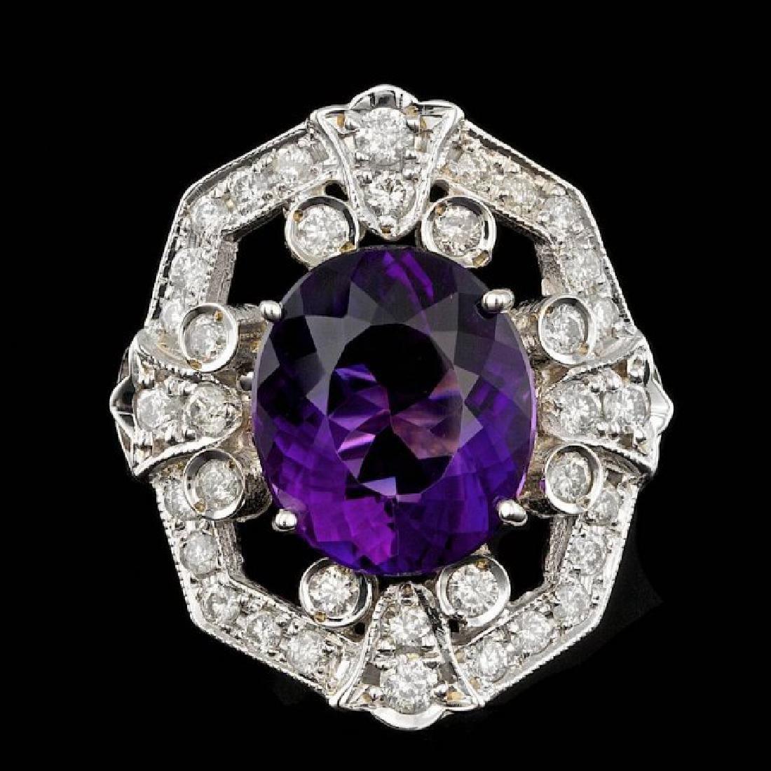 14k Gold 7.50ct Amethyst 2.60ct Diamond Ring - 2