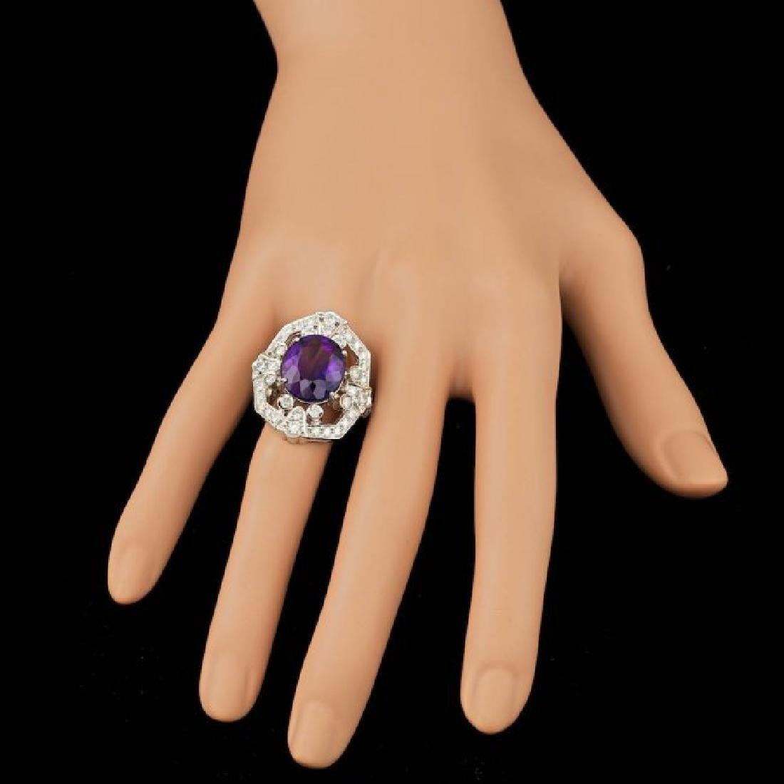 14k Gold 7.50ct Amethyst 2.60ct Diamond Ring - 4