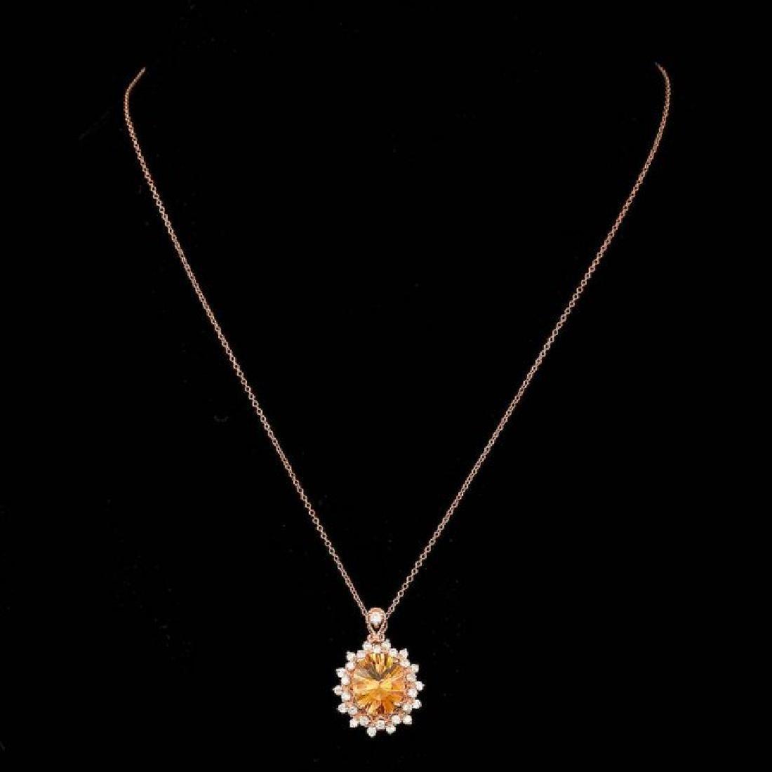 14k Gold 4.00ct Citrine 0.80ct Diamond Pendant - 2