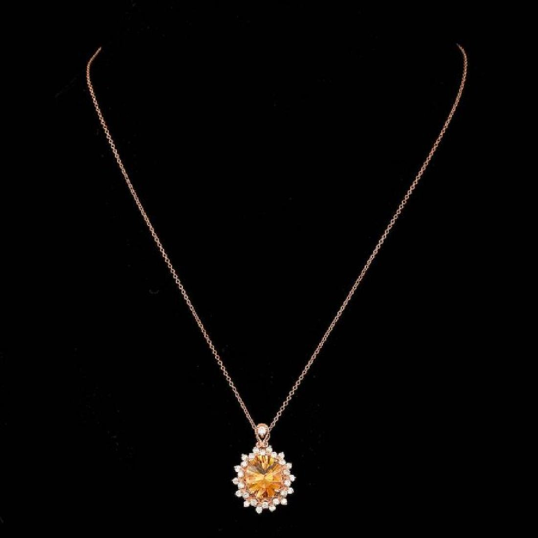 14k Gold 4.00ct Citrine 0.80ct Diamond Pendant - 2