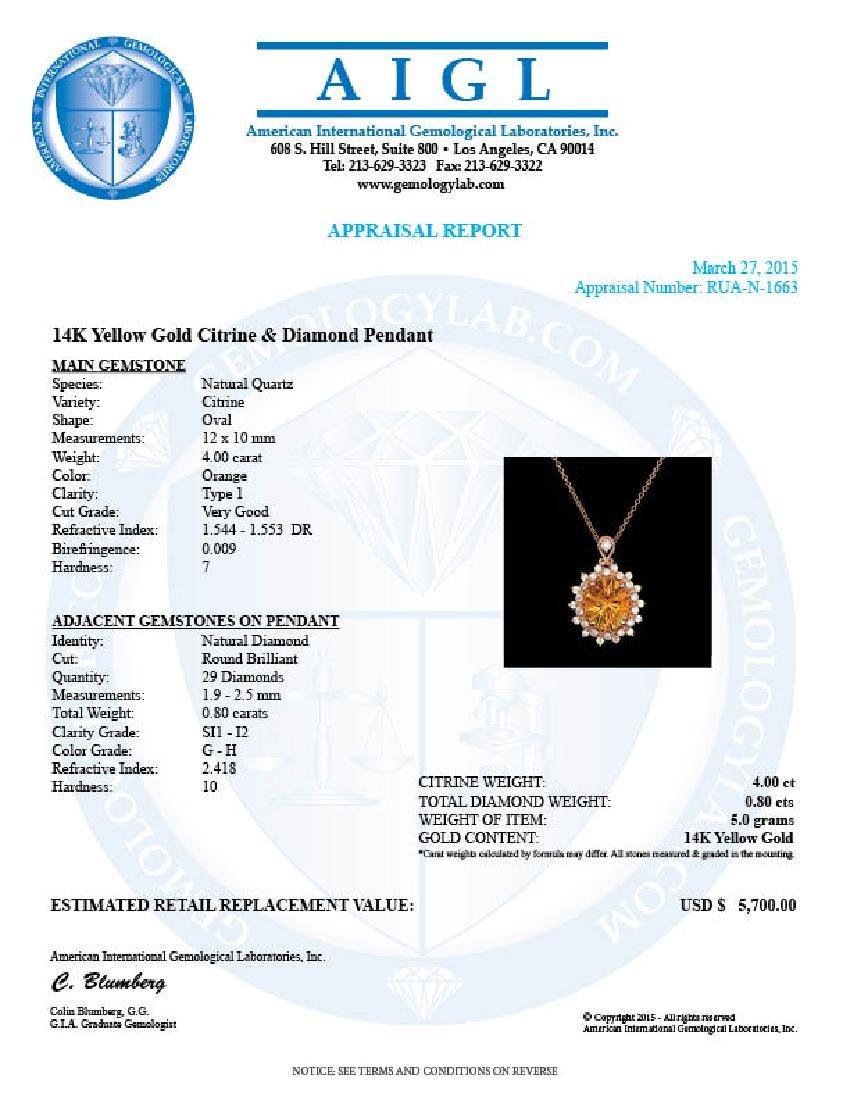 14k Gold 4.00ct Citrine 0.80ct Diamond Pendant - 5