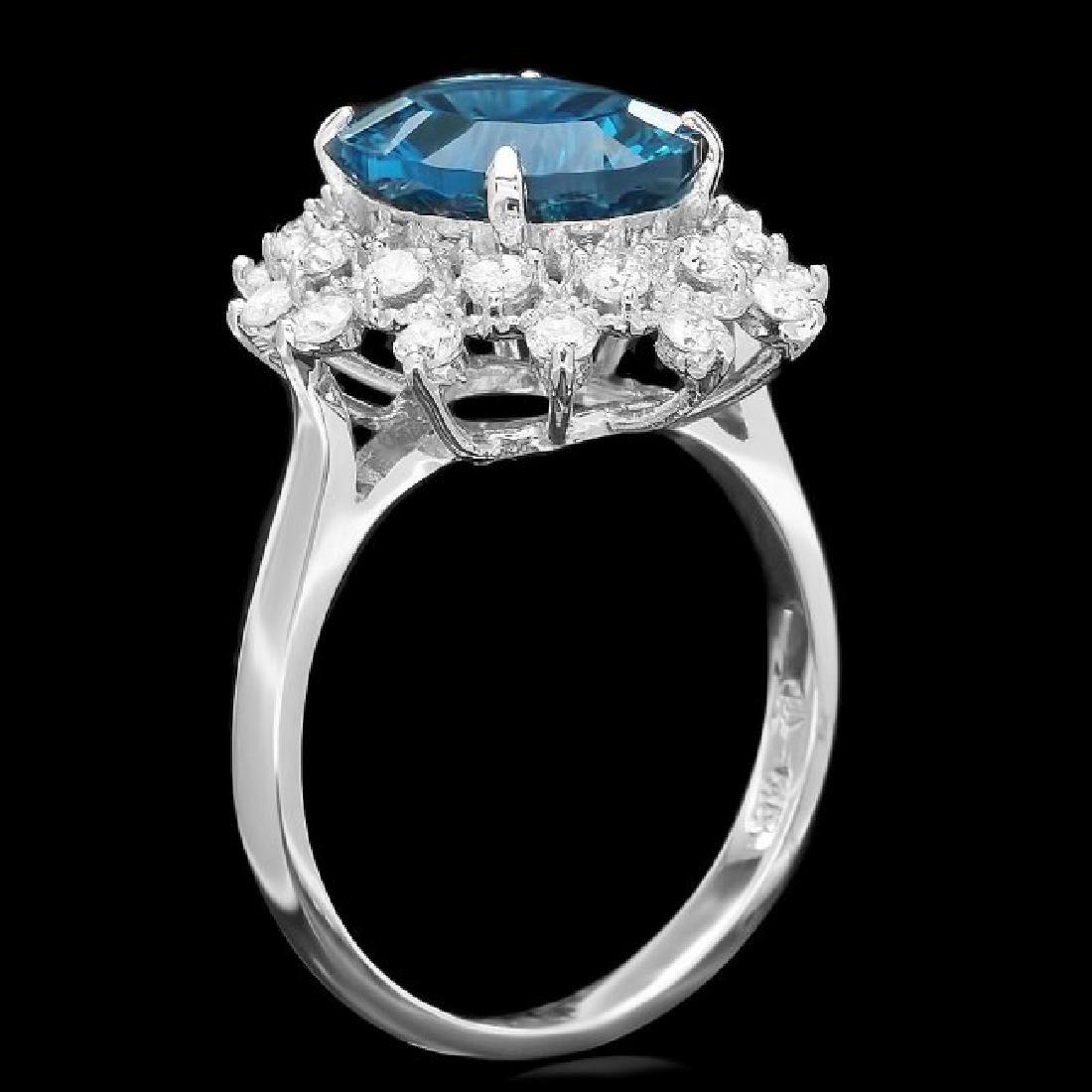 14k White Gold 4.00ct Topaz 0.70ct Diamond Ring - 2