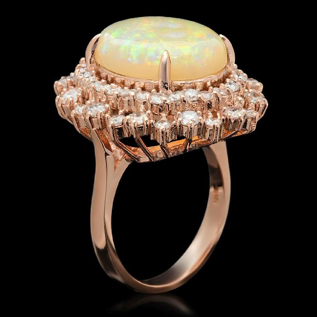 14K Gold 5.91ct Opal 1.85ct Diamond Ring - 2