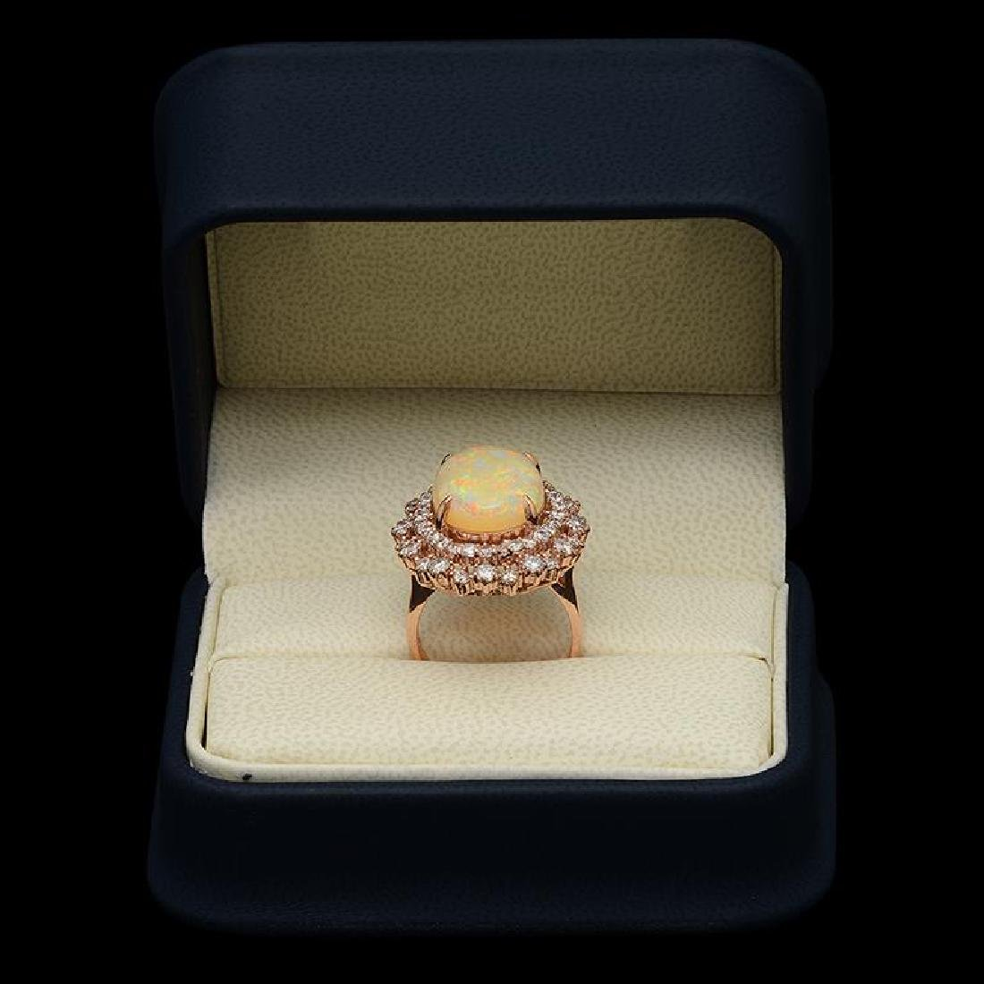 14K Gold 5.91ct Opal 1.85ct Diamond Ring - 3