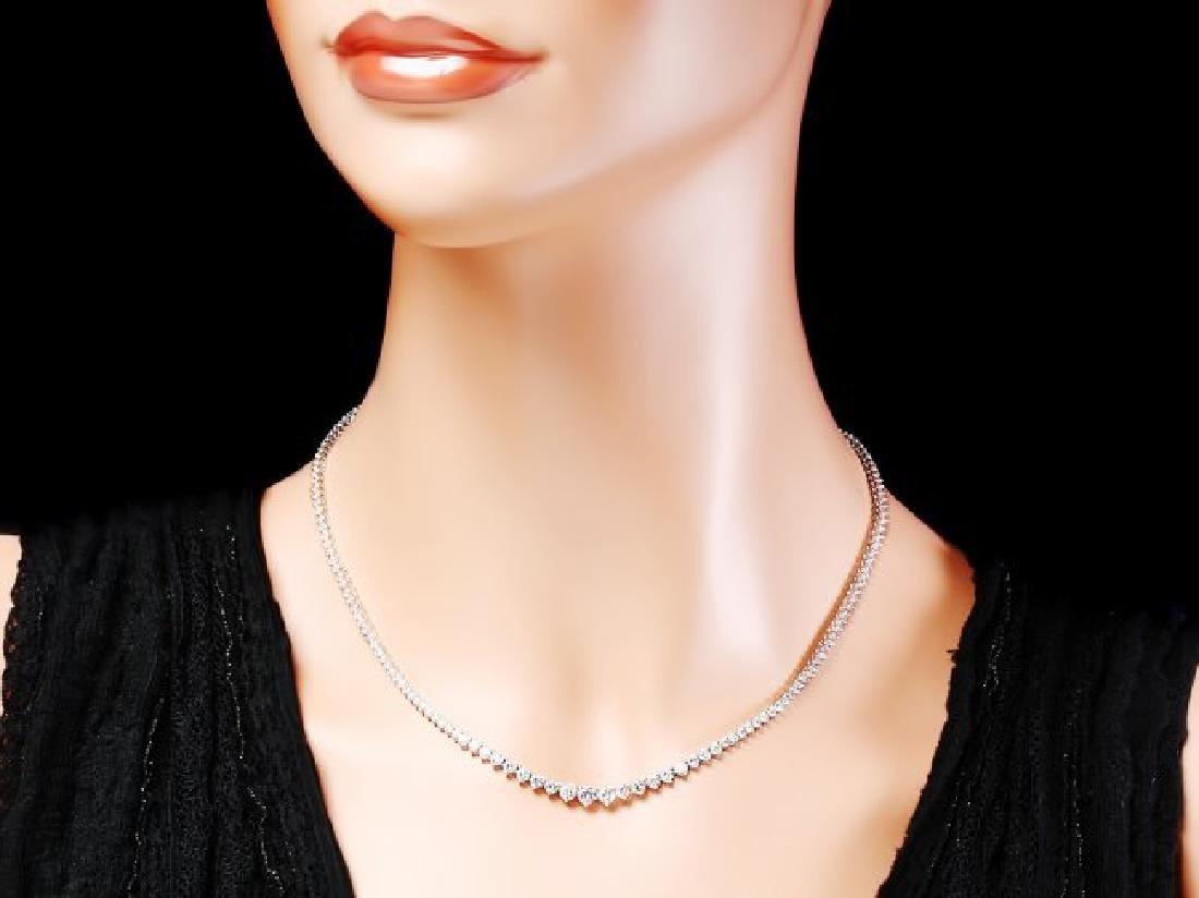 18k White Gold 7.80ct Diamond Necklace - 4
