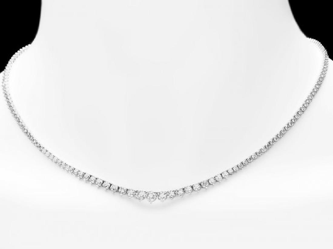 18k White Gold 7.80ct Diamond Necklace - 5