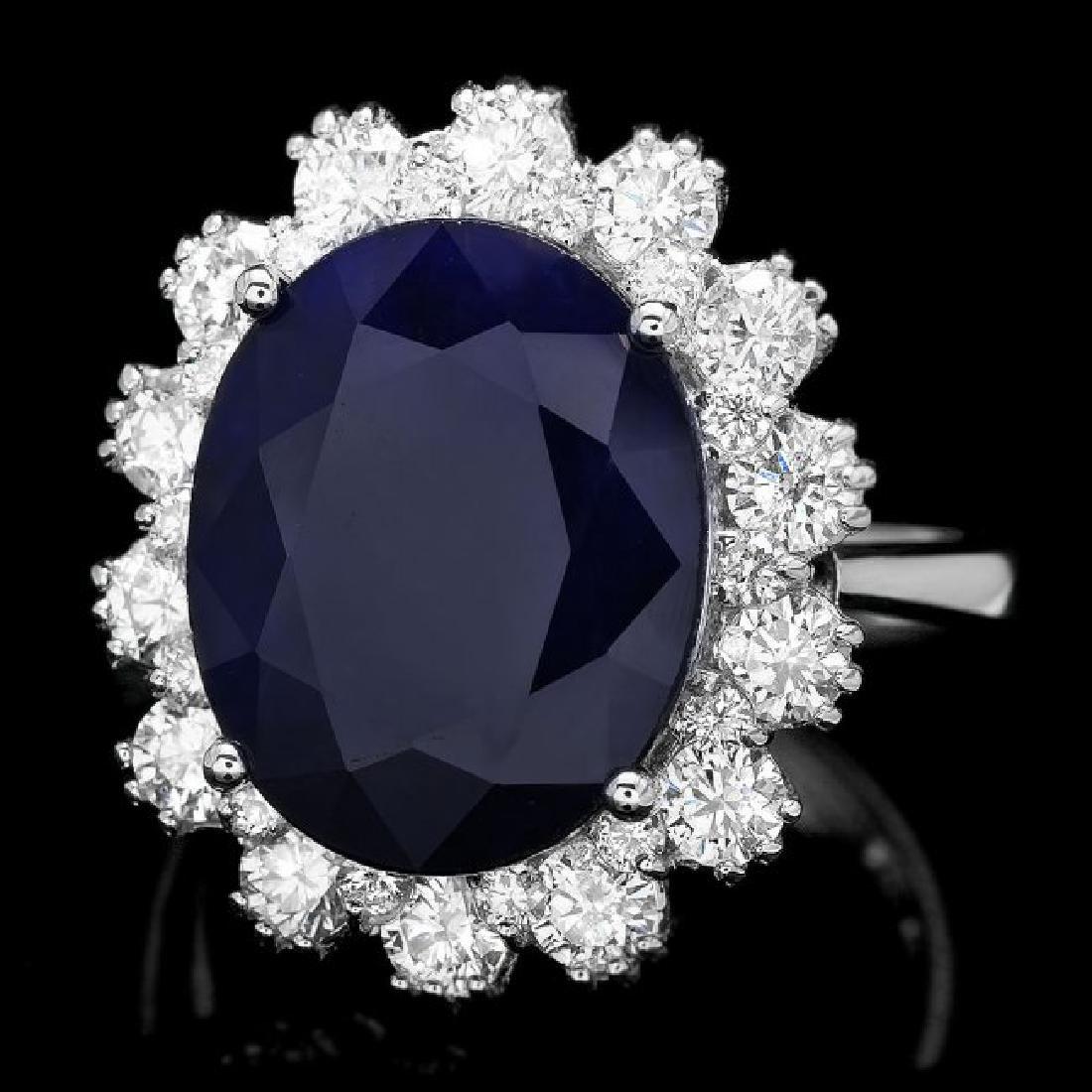 14k Gold 9.00ct Sapphire 1.50ct Diamond Ring