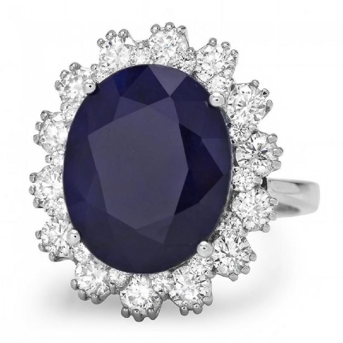 14k Gold 9.00ct Sapphire 1.50ct Diamond Ring - 2