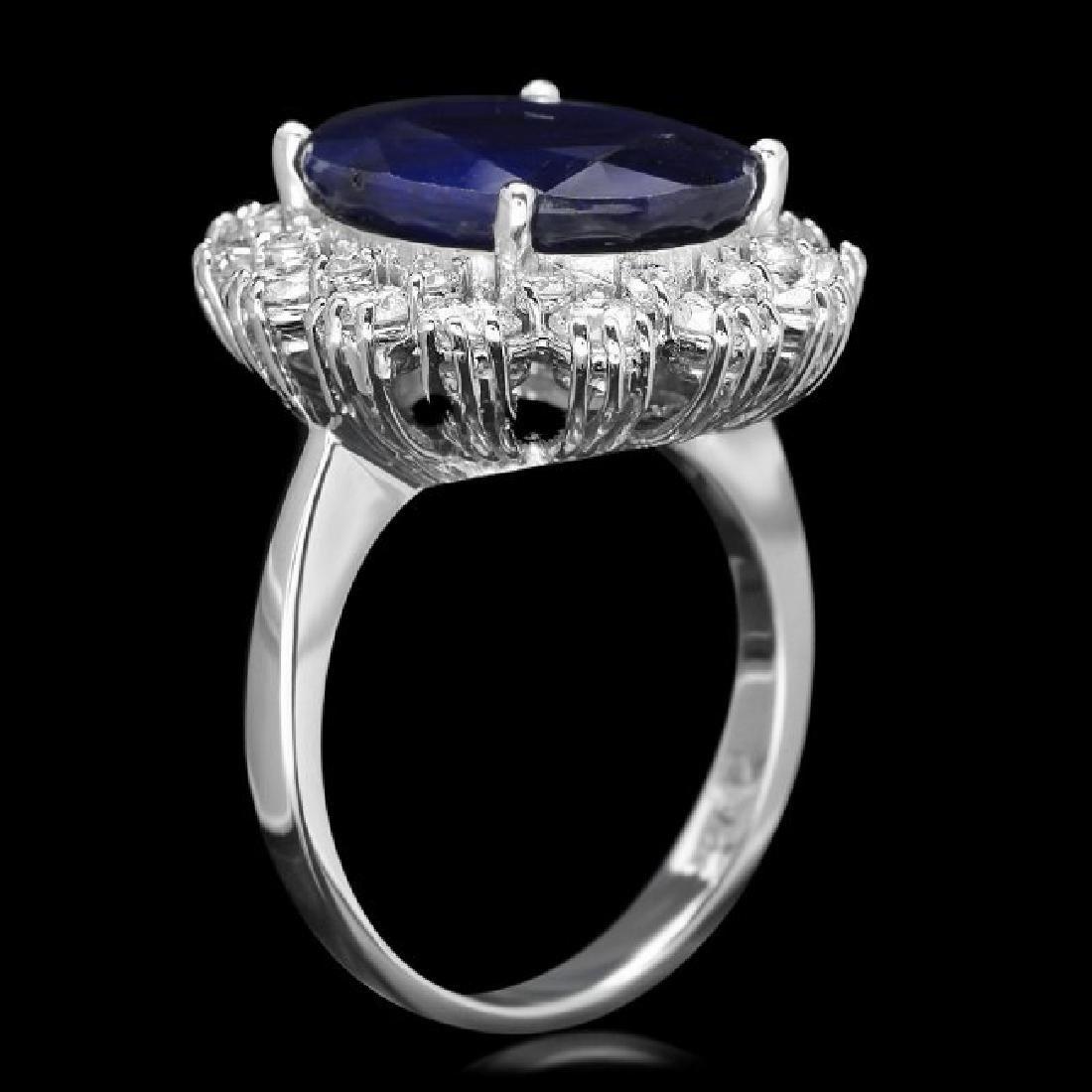 14k Gold 9.00ct Sapphire 1.50ct Diamond Ring - 3