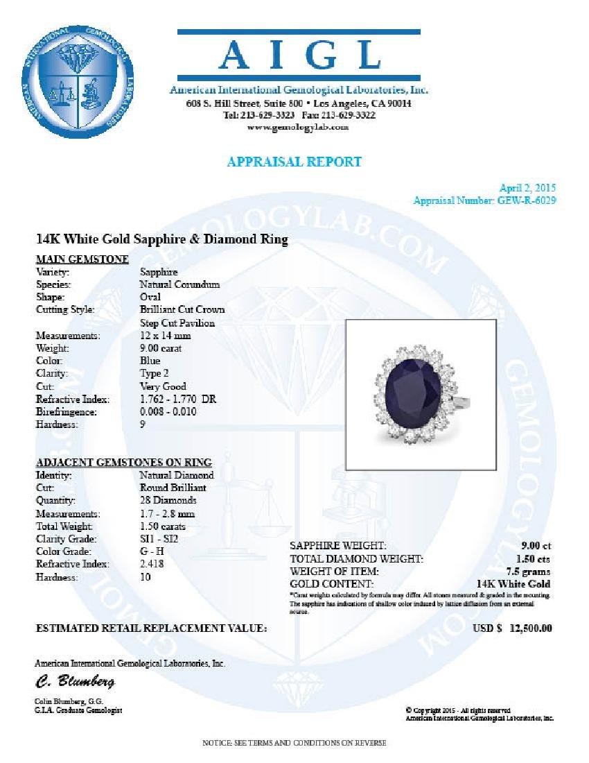 14k Gold 9.00ct Sapphire 1.50ct Diamond Ring - 5