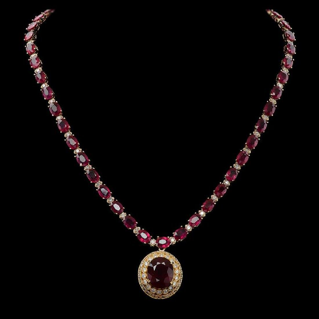 14K Gold 59.34ct Ruby 3.10ct Diamond Necklace