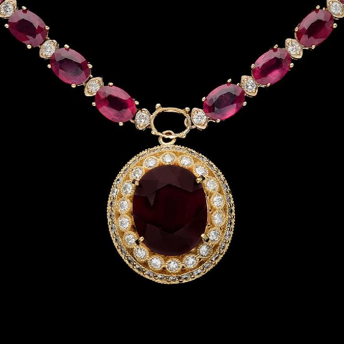 14K Gold 59.34ct Ruby 3.10ct Diamond Necklace - 2