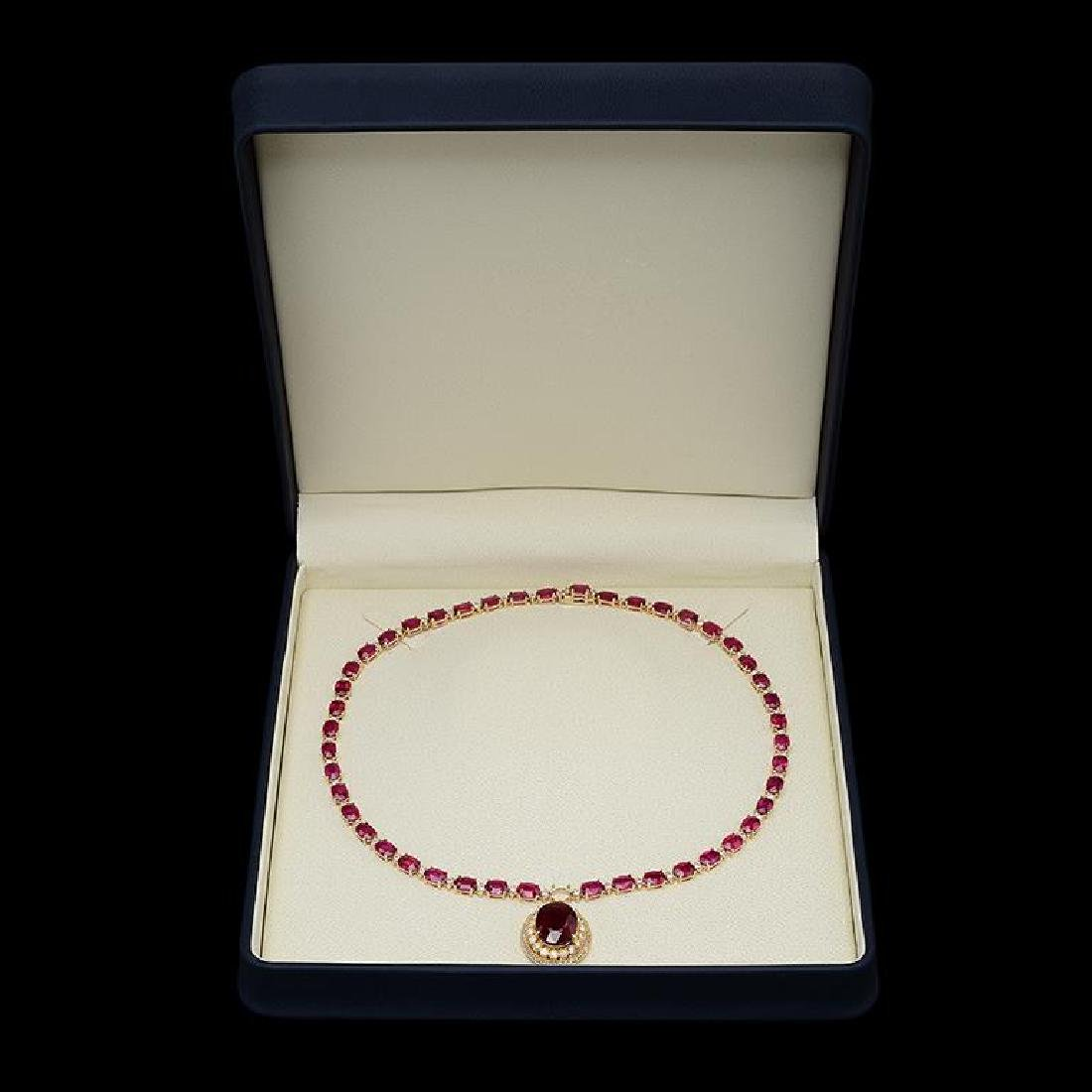 14K Gold 59.34ct Ruby 3.10ct Diamond Necklace - 3