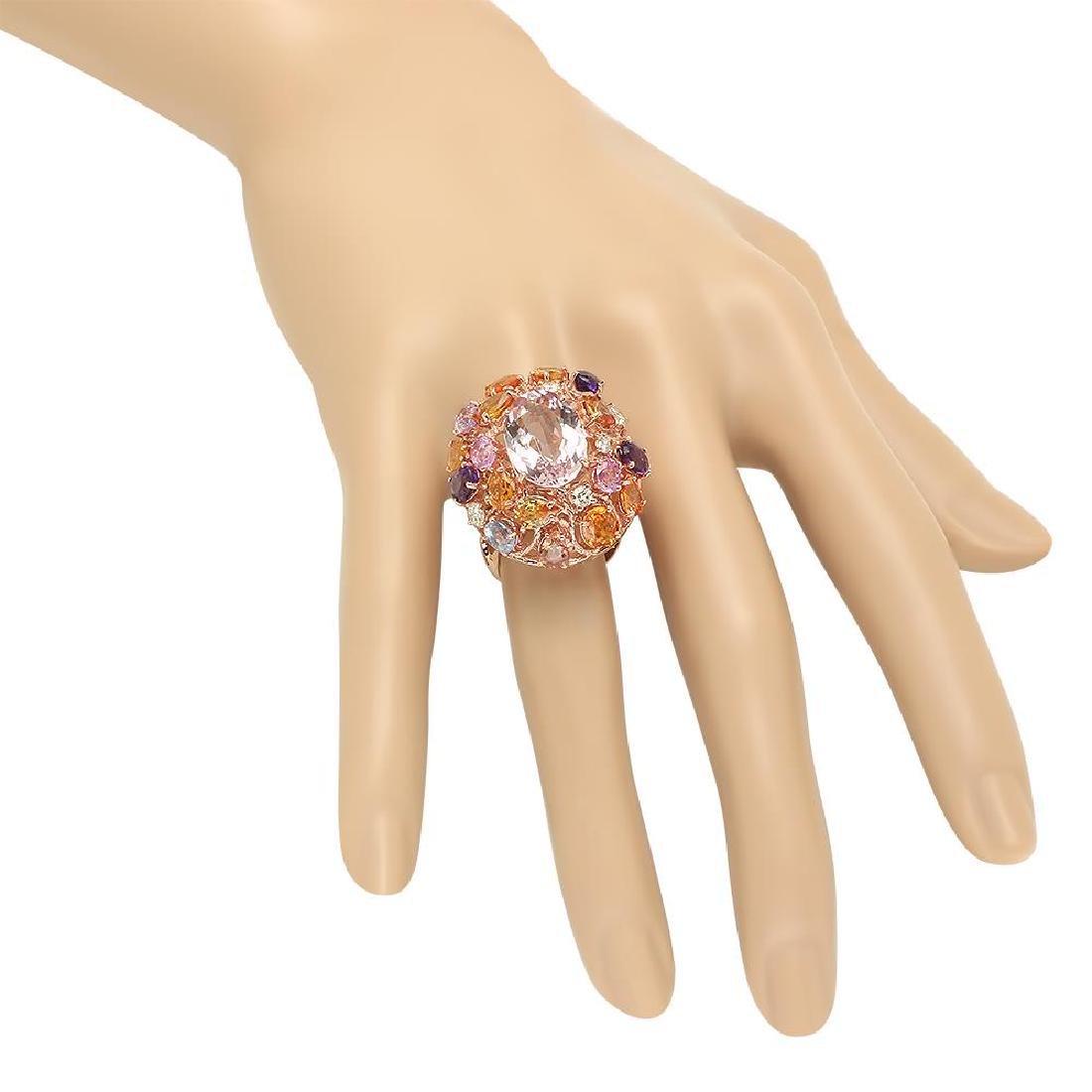 14K Gold 7.32ct Morganite 5.96ct Amethyst, Sapphire - 3