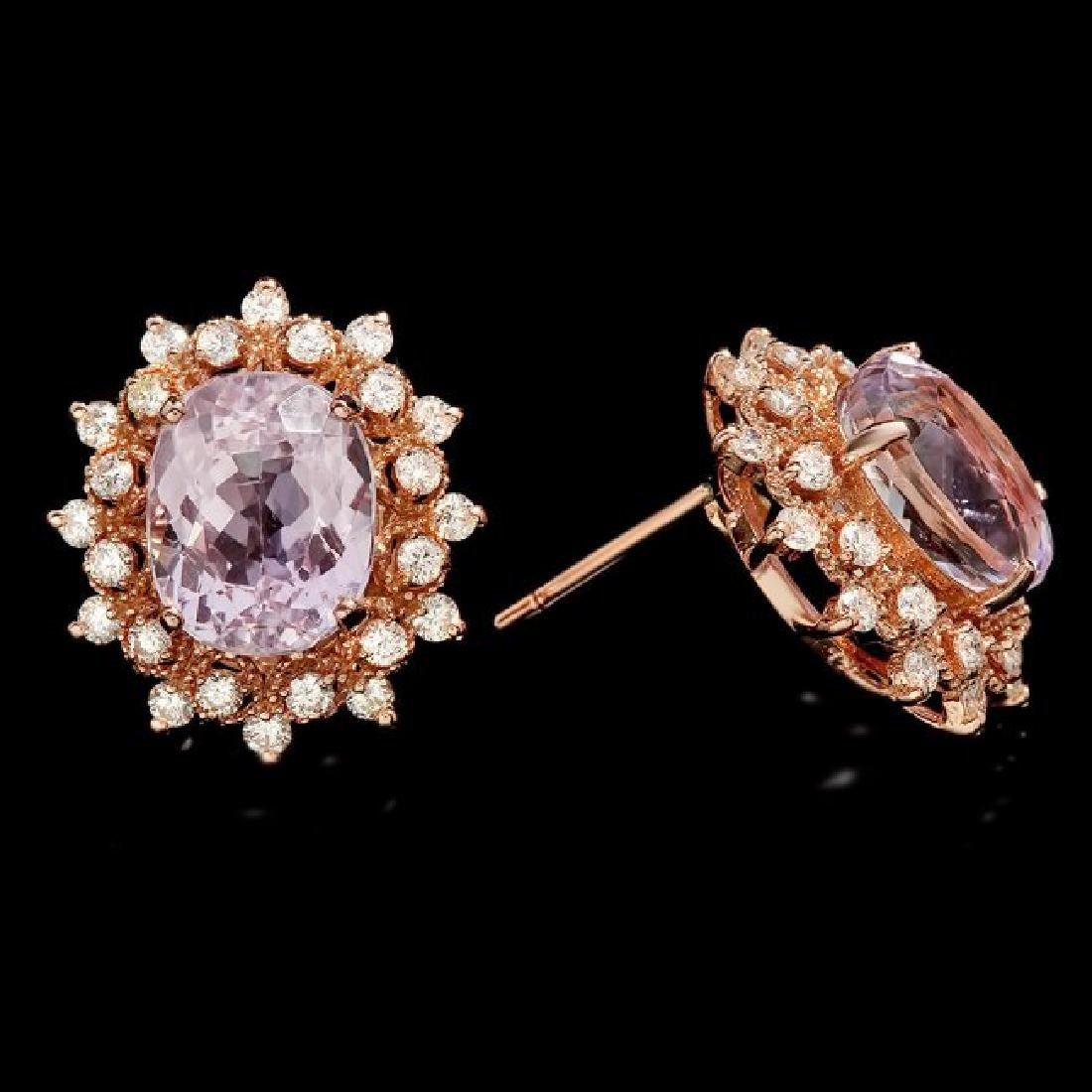 14k Rose 10.00ct Kunzite 1.35ct Diamond Earrings - 3