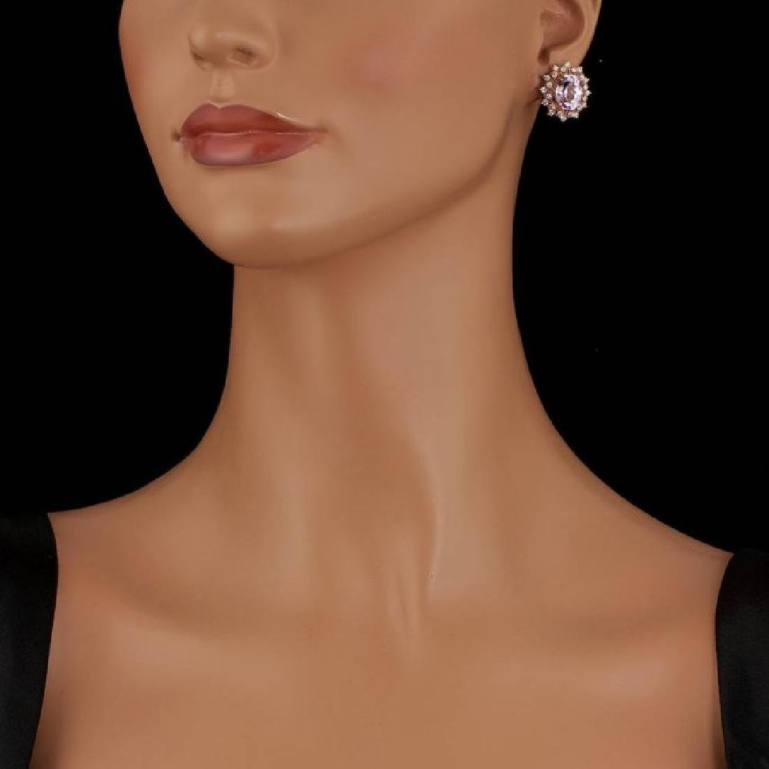 14k Rose 10.00ct Kunzite 1.35ct Diamond Earrings - 4